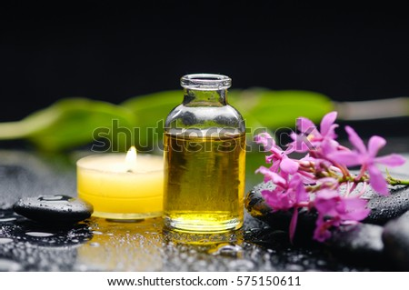 Still life with Pink orchid ,candle, oil and wet black stones background