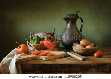 Still life with red peppers - stock photo