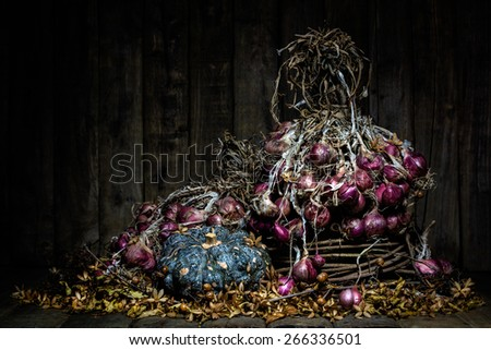 Still life with red shallot and pumpkin with dry golden leaves and dry golden flowers on wood background, low key image - stock photo