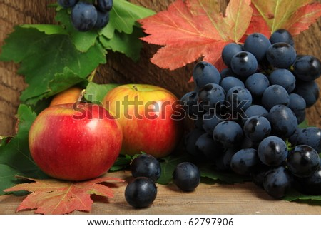 Still-life with ripe apples and bunch of grapes - stock photo
