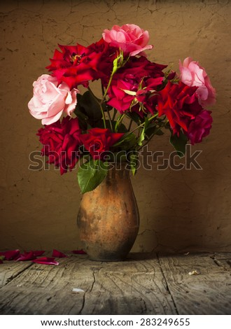 Still life with roses - stock photo