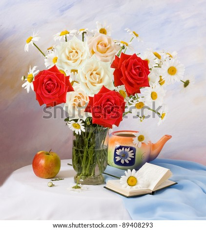 Still life with roses and chamomiles, fruit and open book on painting background