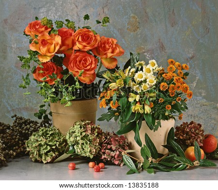 still-life with roses and other flowers - stock photo