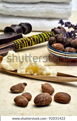 Still life with shea nuts and shea butter used for cosmetic products - stock photo