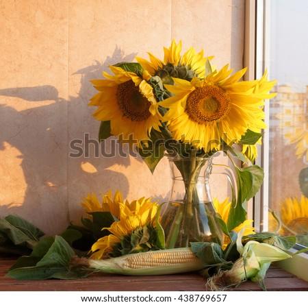 Still Life Sunflowers Glass Vase Corn Stock Photo Edit Now