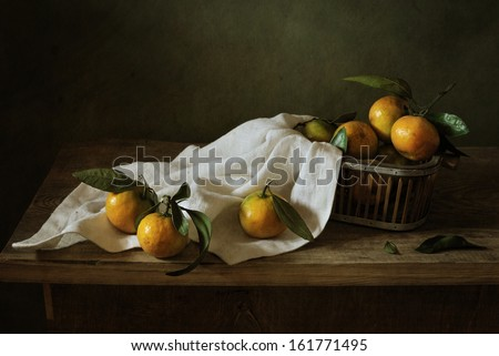 Still life with tangerines - stock photo