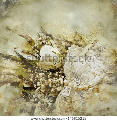 Still life with tulips and pearls.  - stock photo