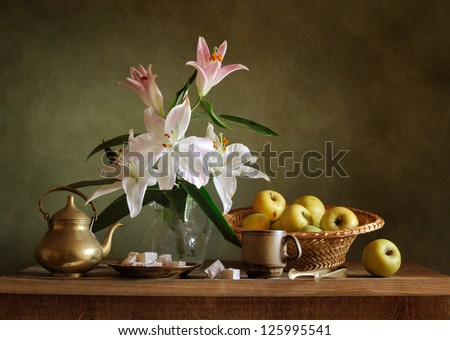 Still life with turkish delight - stock photo