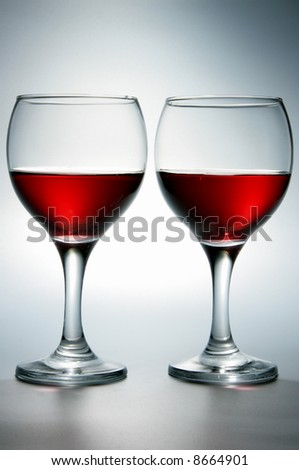 Still-life with two glasses of red wine