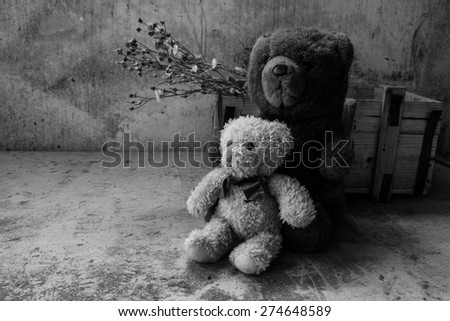 Still life with two teddy bear   in room,black and white style filter effects,love concept - stock photo