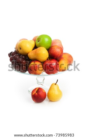 Still life with vase with fruits Isolated on white background - stock photo