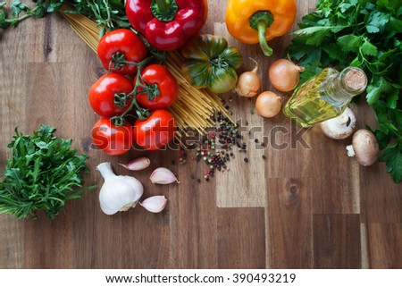 Still life with vegetables, herbs and spices for italian pasta
