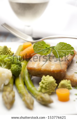 still life with vegetables tuna dish.