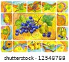 Still life with vine bunch and  pear, decorative composition. Watercolor. - stock photo