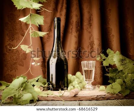 Still life with vintage wine - stock photo