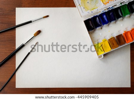 still life with watercolor, lot of place for text - stock photo