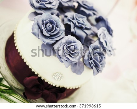still life with wedding cake - stock photo