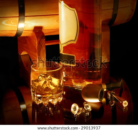 still life with whisky and pipe. Look for more in MY PORTFOLIO - stock photo