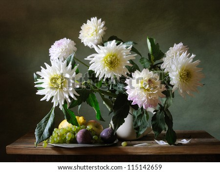 Still life with white dahlias - stock photo