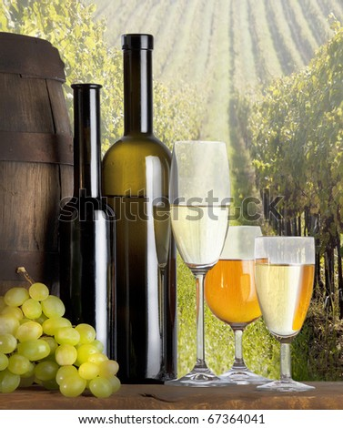 still life with white wine and vineyard - stock photo
