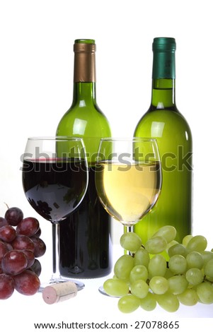 Still-life with wine and bunch of grapes