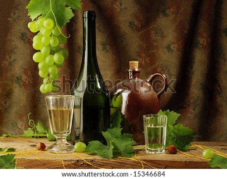 Still life with wine, vintage style - stock photo