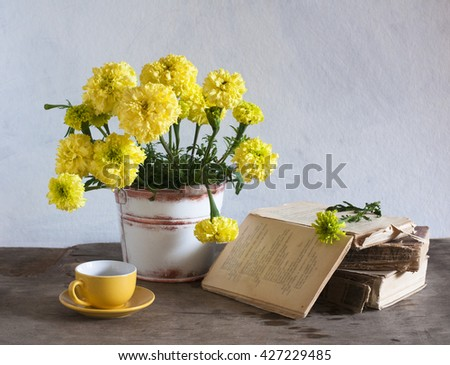 Still life with yellow marigolds