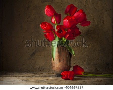 Still life with yellow tulips - stock photo