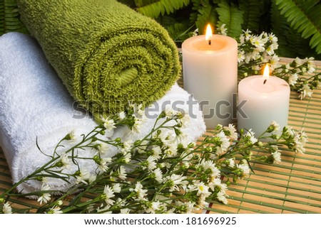 Still lift with spa Setting outdoor  spa massage with candlelight - stock photo