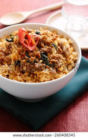 Stir-Fried Basil Pork with Fried Rice - stock photo