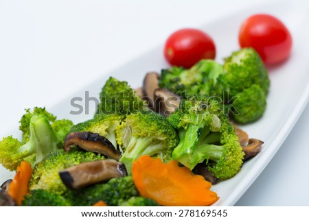 Stir-Fried Broccoli Broccoli white dish. - stock photo