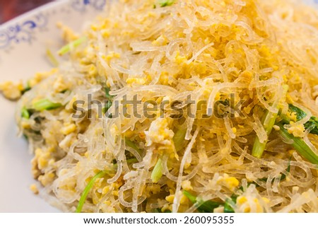 Stir Fried Cellophane Noodle with Eggs and Vegetables