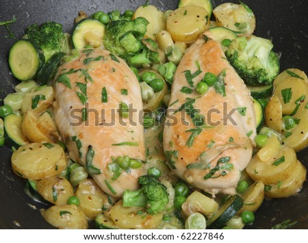 Stir-fried chicken breasts with vegetables - stock photo