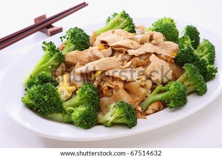 Stir fried Chicken Noodles - stock photo