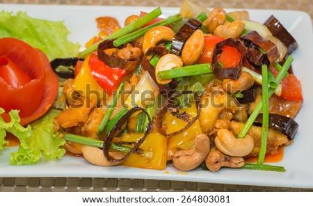 Stir-Fried Chicken with Cashew Nuts - stock photo