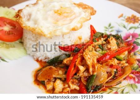 stir-fried chicken with thai chili paste - stock photo