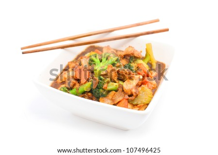 Stir Fried Chicken with Vegetable isolated on white - stock photo