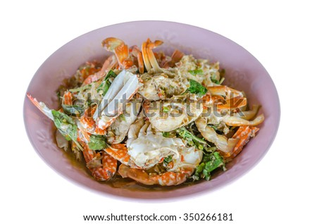 Stir fried Crab with chili & Basil leaves , spicy seafood dish - stock photo