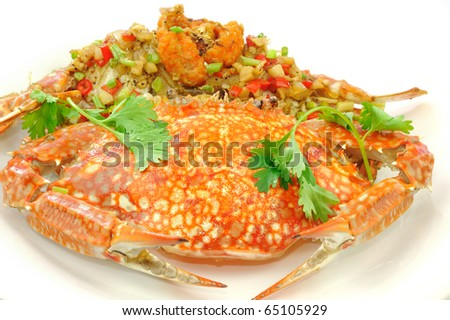 Stir-Fried crab with Garlic, Peper, and Salt. - stock photo