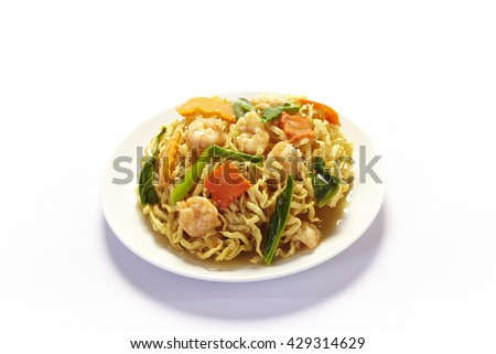 Stir-fried noodles with shrimp, Chinese cuisine - stock photo