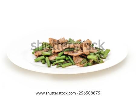 Stir fried Pork with Shrimp paste and String Beans (Thai food) - stock photo