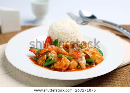 Stir-fried seafood with chili paste - stock photo