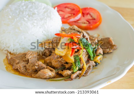stir-fried spicy beef with basil ,Thai food