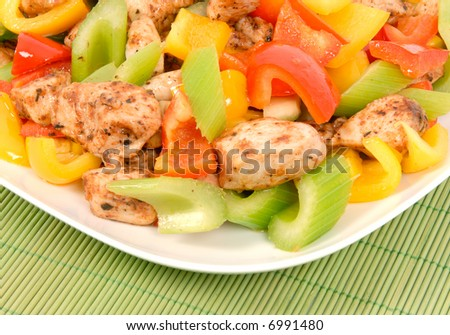 Stir-fried spicy chicken and vegetables
