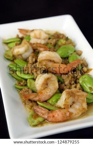 Stir-fried Stink Beans with Shrimp - stock photo