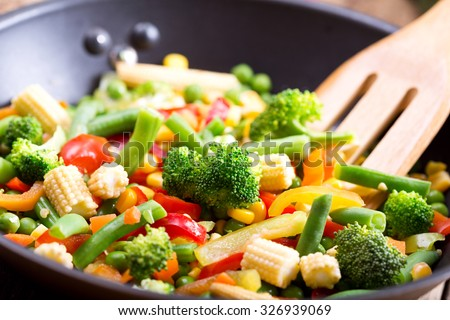 stir fried vegetables in the pan - stock photo
