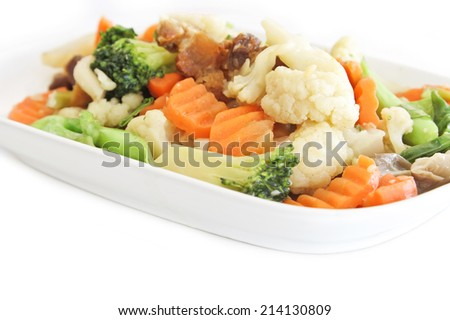stir fried vegetables in the white plate - stock photo