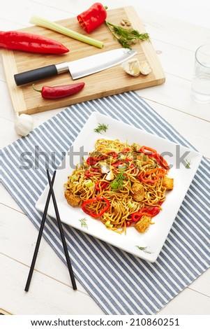Stir fry chicken noodles - stock photo