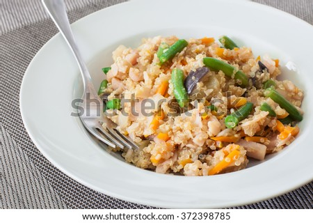 stir fry chicken with almonds chinese style - stock photo