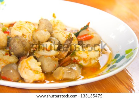 stir-fry  mushroom,and shrimp